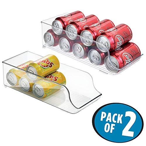 mDesign Juego de 2 cajas de almacenaje para nevera y congelador – Envases de plástico para alimentos – Prácticos contenedores de plástico para 9 latas – transparente