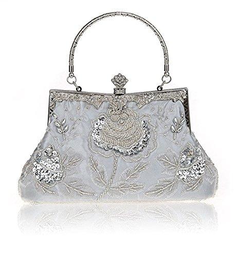 Heyjewels Vintage Handmade Damen Beaded Perlen Clutch Glitzer Floral Abendtasche silbrig (Floral Pailletten-handtasche)