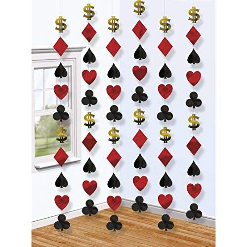 6 Casino Deko Girlanden 6 x 213 cm, Motiv 9 x 9 cm Las Vegas Ketten Raumdeko Poker Dekoration Karten Dekoketten