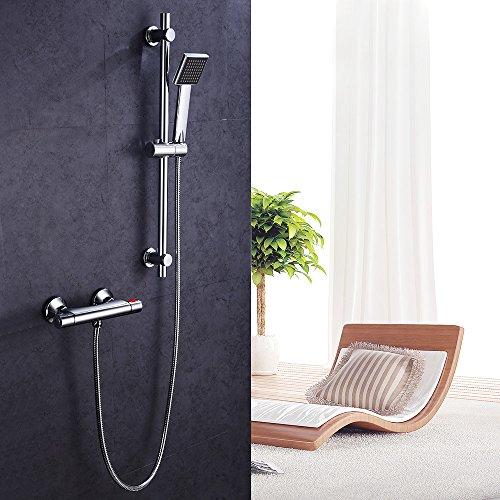 Hausbath BT030 Temperatur Duschmischer Set Handbrause Duschset Chrom Bad Thermostat Duschkombination