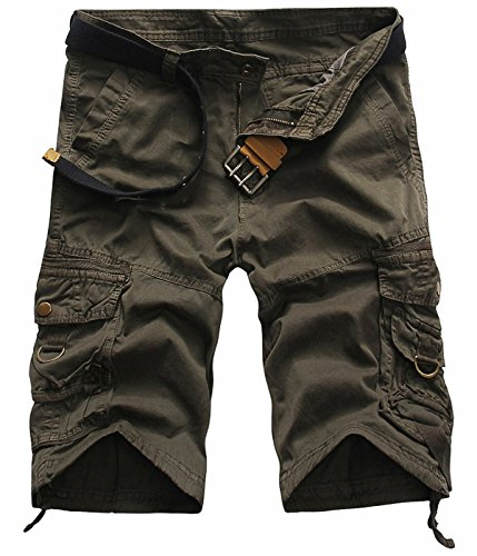 UMilk Herren Retro Lässige Multi Pockets Cargo Shorts (Kein Pocket Sweatpant)