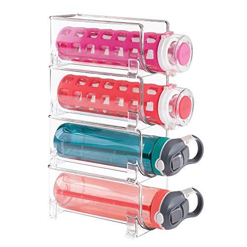 mDesign Flaschenregal - stapelbare Aufbewahrung für Weinflaschen BZW. Trinkflaschen - ideal für Küchenschränke und Arbeitsplatten - für 4 Flaschen, transparent - Design-stapelbar