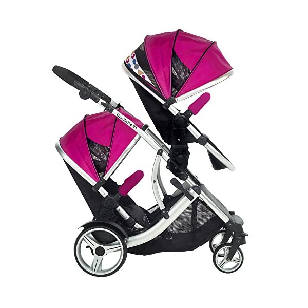 Duellette 21 BS Double Twin Pushchair with 2 footmuffs and Free Changing Bag. Complete with 2 seat units, & 2 rain covers. Dooglebug raspberry. compatible with kids kargo safety pod 0+ car seat Kids Kargo Various seat positions. Both seats can face mum (ideal for twins) Suitability Newborn Twins (if used with car seats) or Newborn/toddler. Accommodates 1 or 2 car seats Rain covers 2