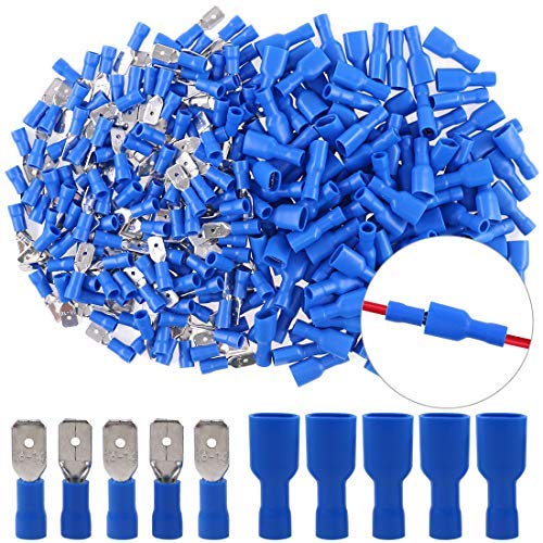 Hilitchi 100pcs 16-14 Gauge Fully Insulated Male Female Spade Quick Splice Wire Terminals Wire Crimp Connectors Set