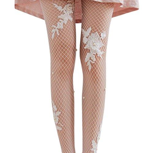 Ningsun collant donna calze trasparenti serata di festa calze di seta calze a rete lady motivo floreale elegante pizzo coscia collant abito jeans accessori (bianca, taglia unica)