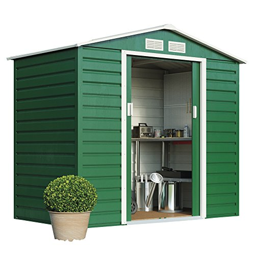 Metal Garden Shed Small Outdoor Storage 7 x 4.2 with Sliding Doors, Weatherproof Apex Roof by Waltons