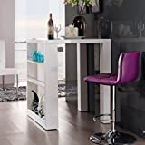 lounge-zone Designer Bartisch HOME weiß Highgloss mit seitlichem Regal 80x108x80cm 8615