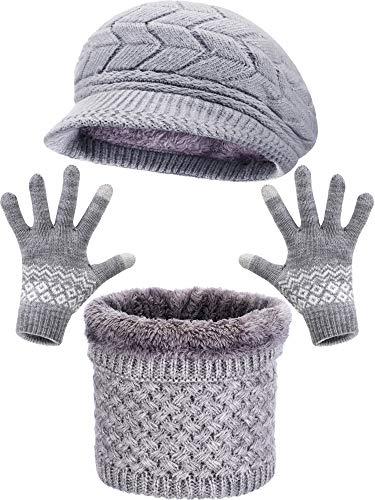 Sombrero Boina Punto Invierno Bufanda Aro Caliente