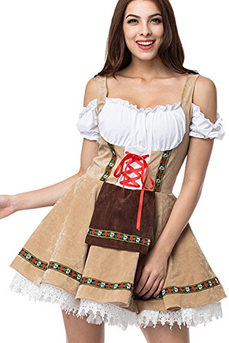 Zonsaoja Le Donne All oktoberfest Costumi Dirndl Mini Vestito Birra Tedesca brown S