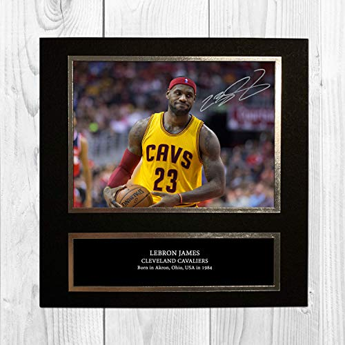Lebron James Cleveland Cavaliers Nba 3 Ndb Signed Reproduction Autographed Wall Art 10 Inch X 10 Inch Print Card Mounted