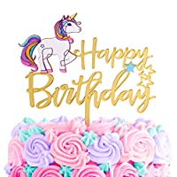 GET FRESH Unicorn Happy Birthday Cake Topper - Gold Unicorn Birthday Cake Decorations for Girls Bday Party - Gold and Rainbow Unicorn Cake Banner - Premium Acrylic Cake Topper for Unicorn Theme Cake