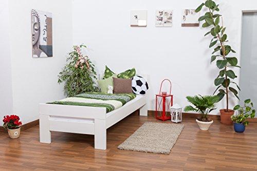 """Einzelbett""""Easy Premium Line"""" K2, Buche Vollholz massiv weiß lackiert - Maße: 90 x 200 cm"""