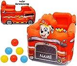 Unbekannt Bällepool / Kugelbad -  Paw Patrol - Feuerwehr Auto  - incl. Name - mit 20 Stück Bälle - 1 m - Pool aufblasbar - für INNEN & AUßEN - Bällebad / Ball - Bad -..
