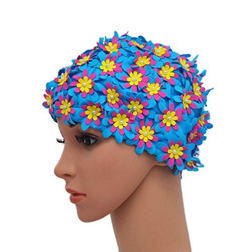 medifier Badekappe Blumenmuster Retro-Stil Badehaube für Damen, blau