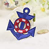 12pcs buque náuticas Anchor Sailor bordado Sew de hierro en parche Badge, tela, azul real, 5*6.1cm