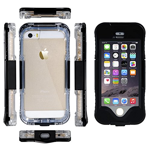 iPhone 5S Custodia Impermeabile, iThrough™ iPhone SE Custodia Impermeabile Waterproof Case, Antipolvere, Anti Neve, Antiurti Custodia Cover Case per iPhone 5/5S/SE Nero
