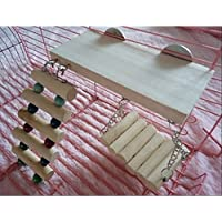 ivebetter Juego de 3loro hámster trampolín escalera columpio juguetes de madera