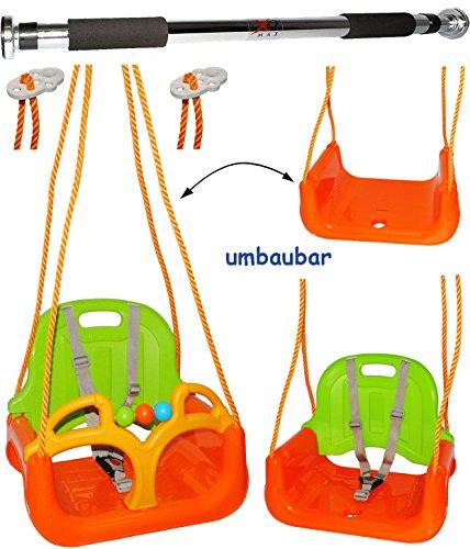 """Preisvergleich Produktbild 2 tlg. Set _ Türreck + mitwachsende - Babyschaukel / Gitterschaukel mit Gurt - """" ORANGE / GRÜN / GELB """" - leichter Einstieg ! - mitwachsend & verstellbar - 100 kg belastbar - Kinderschaukel ab 1 Jahre - Reck für Türrahmen Befestigung - Stange - Türstange - mit Rückenlehne & Seitenschutz - Schaukel für Kinder - Innen und Außen / Garten - für Baby´s - aus Kunststoff / Plastik - Kunststoffschaukel - mitwachsend - Sicherheitsgurt - Gitterschaukel / Kleinkindschaukel - Baby"""