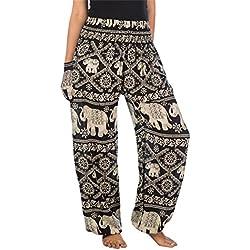 Lofbaz las mujeres Pantalones Harem Boho de cintura alforzada del Elefante Negro talla única