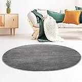 Taracarpet Kurzflor-Designer Uni Teppich extra weich fürs Wohnzimmer, Schlafzimmer, Esszimmer oder Kinderzimmer Gala dunkel-grau 200x200 cm rund