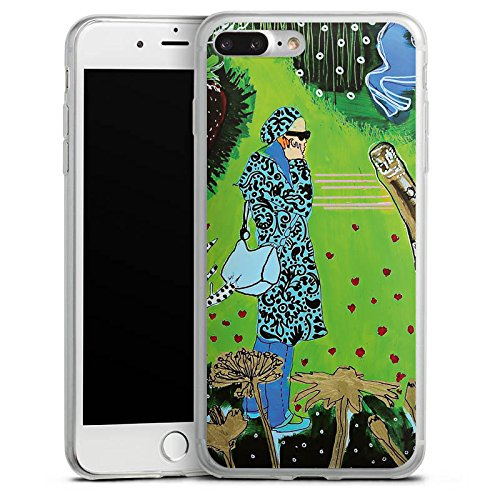 Apple iPhone 8 Slim Case Silikon Hülle Schutzhülle Frau Muster Flasche Silikon Slim Case transparent