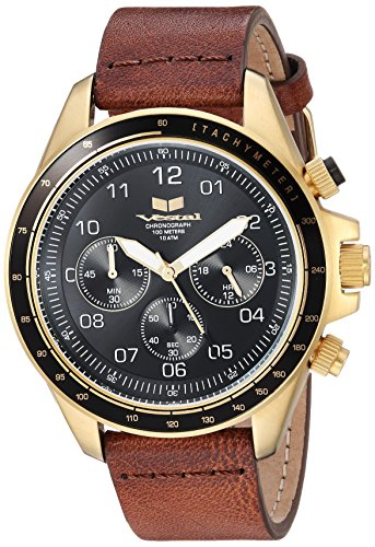 Vestal 'ZR2' Quartz Stainless Steel and Leather Casual Watch, Color:Brown (Model: ZR243L25.BR)