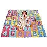 Smibie Puzzlematte Kinderteppich Schaumstoff schadstofffrei Spielmatte Baby Lernteppich Puzzle Kinderteppich mit Zahlen und Buchstaben Bodenmatte 36 Pcs