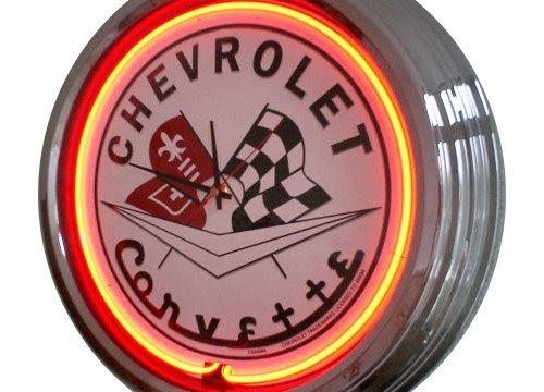Neonuhr Corvette Wanduhr Deko-Uhr Leuchtuhr USA 50's Style Retro Uhr