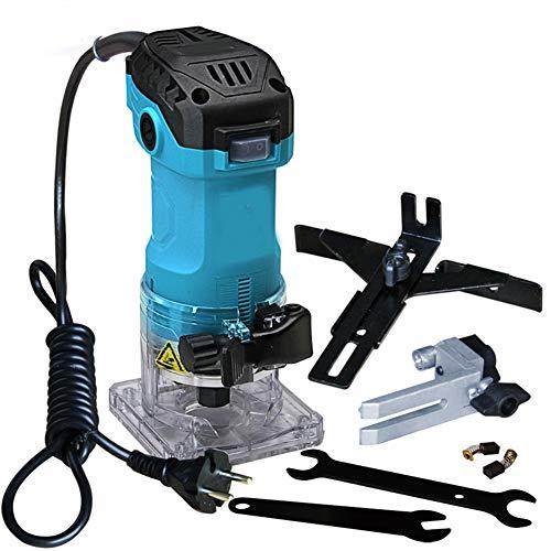 LWQ Holz Router, 600W Elektro-Laminat Kantenschneider Mini hölzerne Fräser 6,35 mm Collet Schnitzen Maschine Zimmerei Holzbearbeitungswerkzeuge, blau