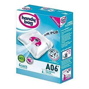 Handy Bag - A06 - 4 Sacs Aspirateurs, pour Aspirateurs AEG, Progress et Tornado, Fermeture Hermétique, Filtre Anti-Allergène, Filtre Moteur