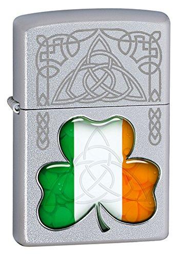 Zippo Windproof Irish Flag Shamrock Lighter - Silver -