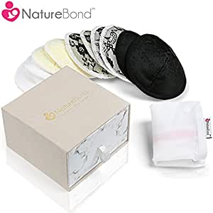 NatureBond Washable Organic Bamboo Nursing Pads (10 Pack) | Contoured Reusable Breast/Breastfeeding Lace Pads | Beautiful Absorbent Hypoallergenic | Bonus Large Laundry Bag | Perfect Baby Shower Gift