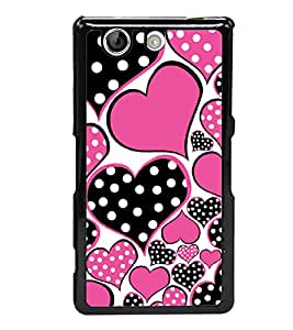 Black and Pink Hearts 2D Hard Polycarbonate Designer Back Case Cover for Sony Xperia Z4 Compact :: Sony Xperia Z4 Mini