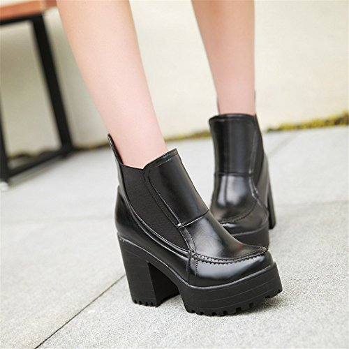 ZQ@QX In autunno e in inverno, testa tonda impermeabile dello spessore di Taiwan con contemporanea europea e americana di set di piedi nudi calzature scarpe con i tacchi alti e stivali black