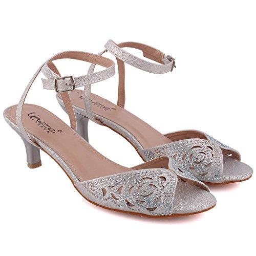 Unze Femmes 'Tame' Cut Laser Low-Mid Talon Stiletto Soirée Soirée Carnival Get Together Brunch Sandales Talon de mariage Court Shoes Taille 3-8 Argent