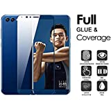 Honor View 10 Silk Series Full Glue Screen Guard - Kohinshitsu Silk Series Full Coverage Tempered Glass Screen Protector With Latest Full Glue Technology For Honor View 10 / Honor V10 Mobile Phone 2018 Model - Blue Color