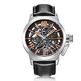 WATCHES-HAN Uhren für Männer 11 Colores Echtes Leder Legierung Mechanische Uhr Automatisch Einfach Mode Wasserdicht Militär Outdoor Bewegung Handel Silber Schwarz Braun Rose Gold-b