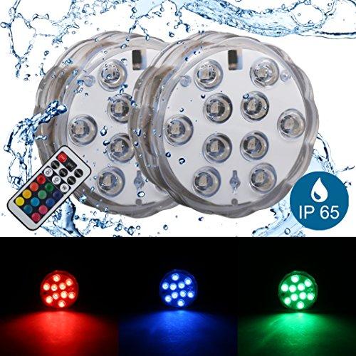 Lumière submersible led I spot rgb I éclairage décoratif pour vase piscine I étanche I avec télécommande I multicolore I 230 V I IP65 I Ø 70 mm