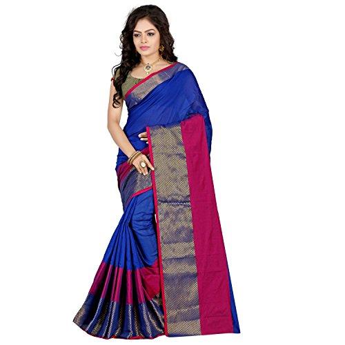Stutti Fashion Self Design Womens Blue Cotton Silk Saree