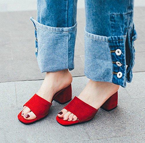 En sandales d'été avec le mot cool pantoufles épais avec des chaussures mode pantoufle de dame Red