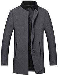 Manteau Homme d'hiver Laine Veste chaud slim fit Trench coat manche longue blazer outwear zippé mode