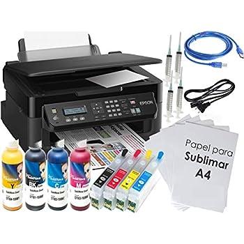 Kit Impresora SUBLIMACIÓN A4 WF-2510, Recargables, 4 X 100 ML TINTAS DE SUBLIMACIÓN, 100 Hojas SUBLIMACIÓN GLOPPAPER