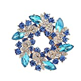 Niñas Damas Chapado en Oro Rhinestones parpadeantes Cristales Bauhinia Flor Chino Redbuds broches Ramillete Pin Clips (Color : Azul)