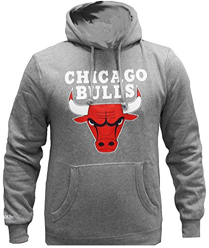 Mitchell & Ness NBA Chicago Bulls Team Logo Hoody Grey Hoodie Sweater Herren Men (Man Logo Sweatshirt Hoody)