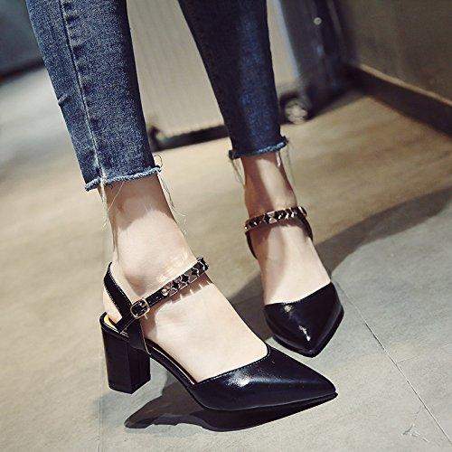 SHOESHAOGE Tipp Sandalen Frauen in High Heels mit Dem Header Feld mit Bundespraesident Schuhe, EU 40