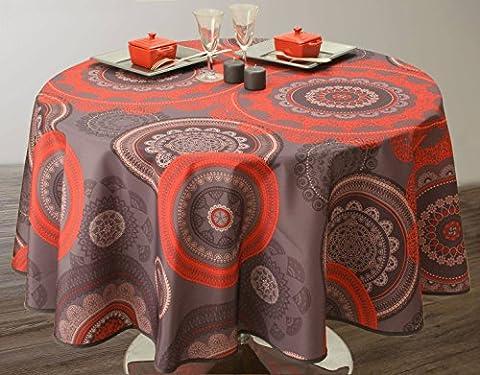 Nappe anti-taches Mandala Rouge - taille : Ovale 150x240 cm