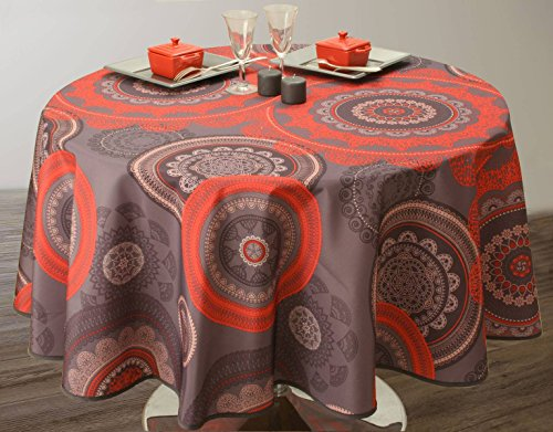 Nappe anti-taches Mandala Rouge - taille : Ovale 150x240 cm