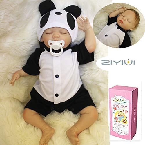 ZIYIUI Lebensechte Realistische Reborn Sleeping Baby Boy 18 Zoll 45 cm Echt Aussehende Puppe mit Panda Kleidung Alter 3 - Baby Alte Oma Kostüm