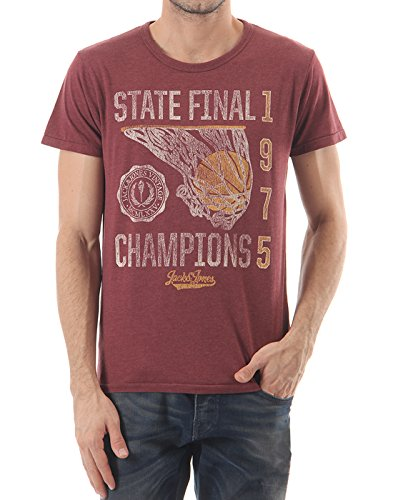 Jack & Jones Men's Casual T-Shirt (_5711882229919_Burgundy_Small_)  available at amazon for Rs.318