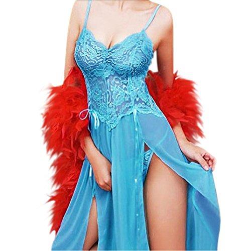 Ricamo sexy della biancheria delle donne Pajamas Lure biancheria intima della stampa di prospettiva,Fami (blu, 5XL)